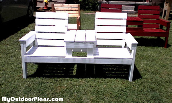 Diy Large Double Chair Bench With Table Plans
