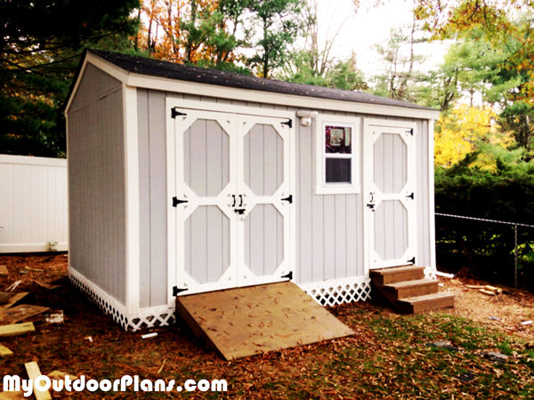 DIY Backyard Storage Shed with Ramp and Steps ...