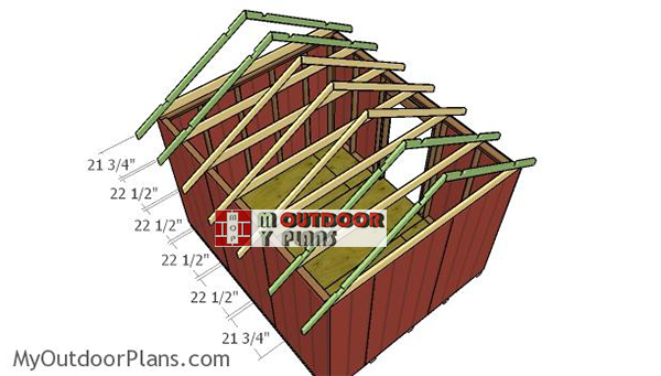Fitting-the-trusses---gable-shed
