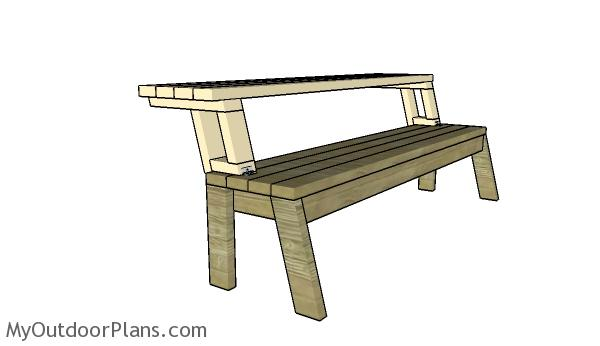 Assembling the picnic table benches