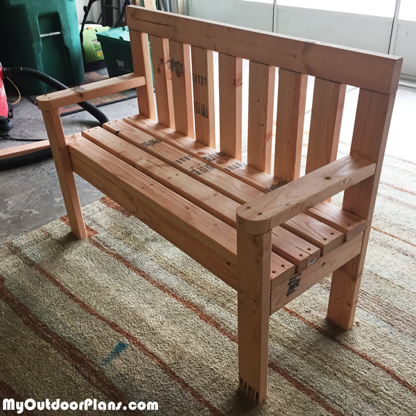 DIY 2x4 Wood Garden Bench