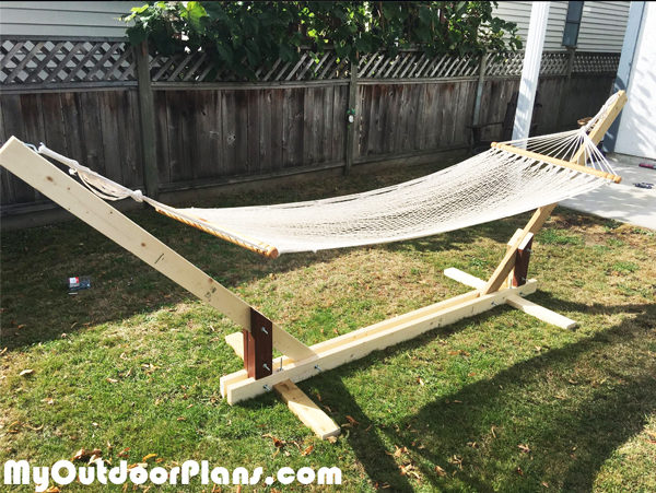 DIY Wood Hammock Stand Plans | MyOutdoorPlans | Free Woodworking Plans ...