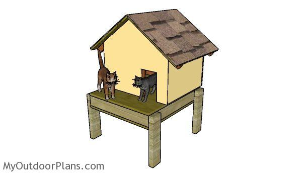 Insulated Cat House Plans | MyOutdoorPlans | Free ... on feral cat shelter house, feral cat house plans, feral cat shelters for outside, feral cats in winter care, dog house outside, diy insulated cat house outside,