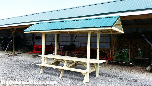 DIY Picnic Table with Shelter   MyOutdoorPlans   Free ...