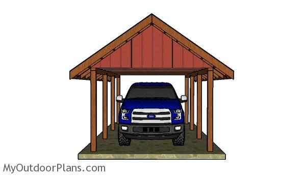 How to build a carport gable roof myoutdoorplans free for 2 car carport plans free