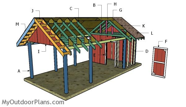 Charmant Carport With Storage Roof Plans