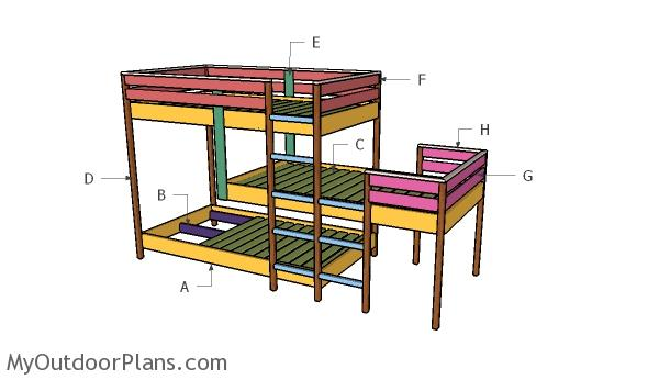 Triple Bunk Bed Plans Building A
