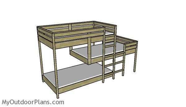 Do It Yourself Home Design: Triple Bunk Bed Plans