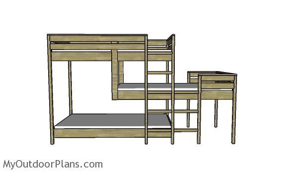 Triple Bunk Bed Plans | MyOutdoorPlans | Free Woodworking ...