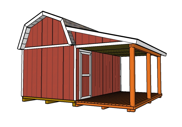 Barn Shed with Porch Roof Plans | MyOutdoorPlans | Free ...