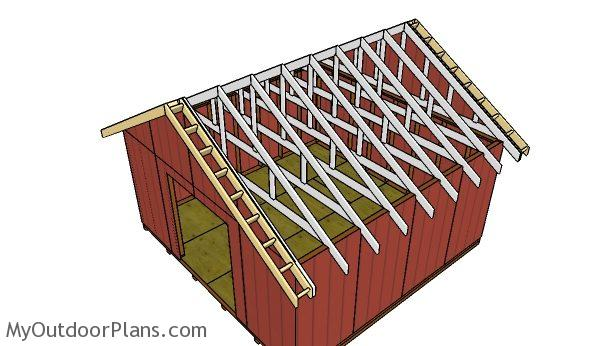 16x16 Gable Shed Roof Plans Myoutdoorplans Free Woodworking And Projects Diy Wooden Playhouse Pergola Bbq