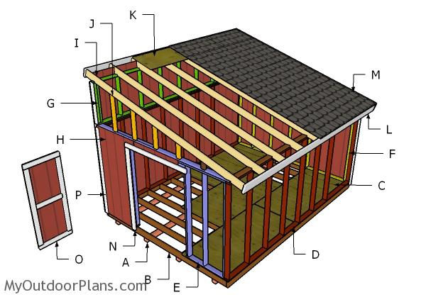 12x16 lean to shed plans myoutdoorplans free for Barn roof plans
