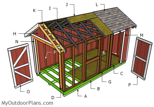8x16 Gable Shed Roof Plans