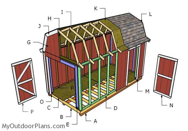 8x16 Gambrel Roof Plans Myoutdoorplans Free