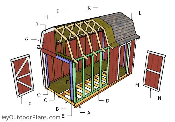 8x16 Gambrel Roof Plans