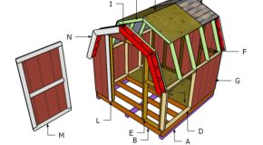 8×8 Short Gambrel Shed Roof Plans