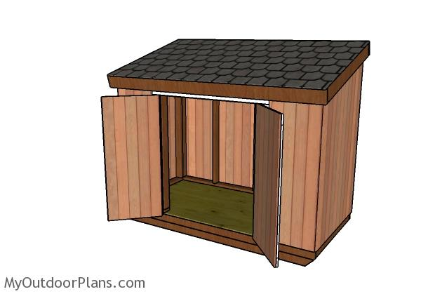 4x8 Short Shed with Lean to Roof Plans