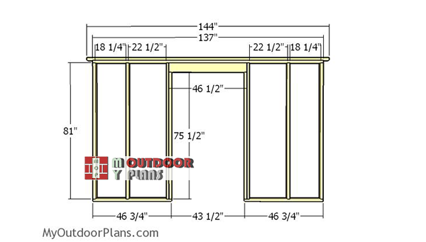 Building-front-wall-frame-with-door