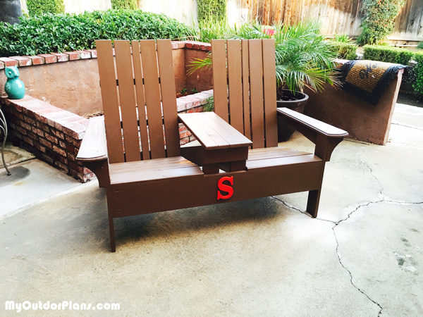 DIY Double Adirondack Chair Bench MyOutdoorPlans Free Woodworking Plans A
