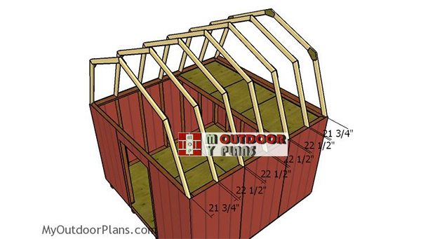 Fitting-the-trusses---12x12-gambrel-shed