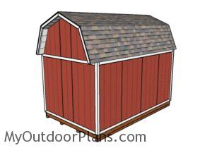 10x16 Gambrel Shed Plans - Back view