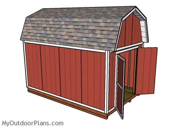 10x16 Gambrel Shed Plans - side view