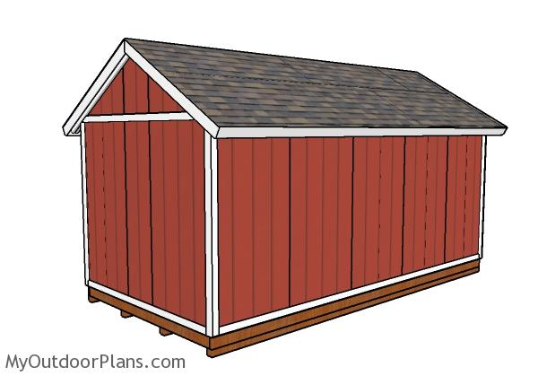 12x20 Shed Plans - Back view