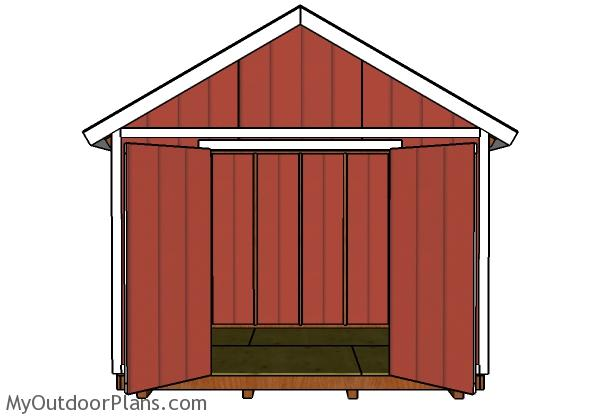 12x8 Shed Plans - Front View