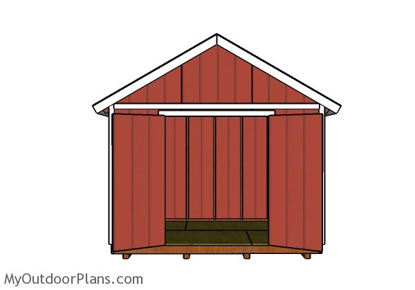 12x8 Shed Plans - Front view doors