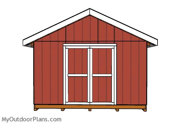 14x16 Shed Plans - Front view