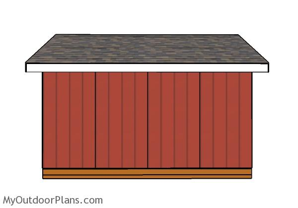 14x16 Shed Plans - Side view