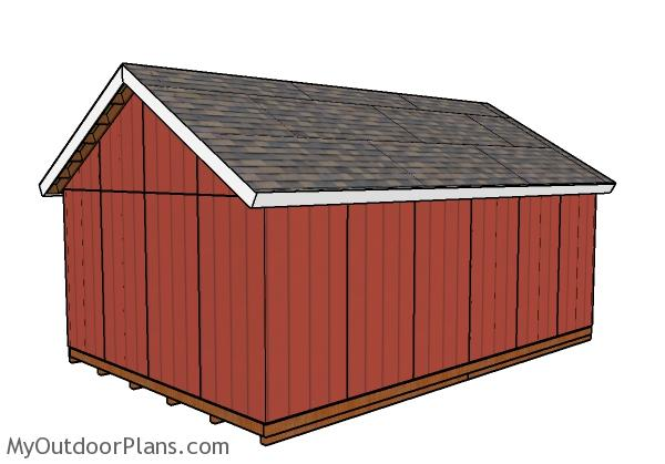 16x24 Shed Plans - Back view