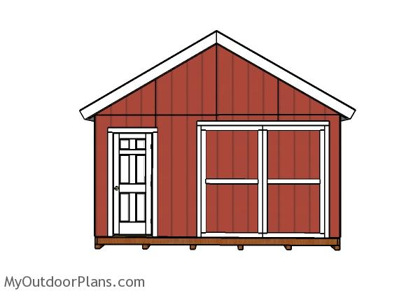 16x24 Shed Plans - Front view