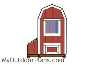 4x8 Barn chicken coop plans - Back view
