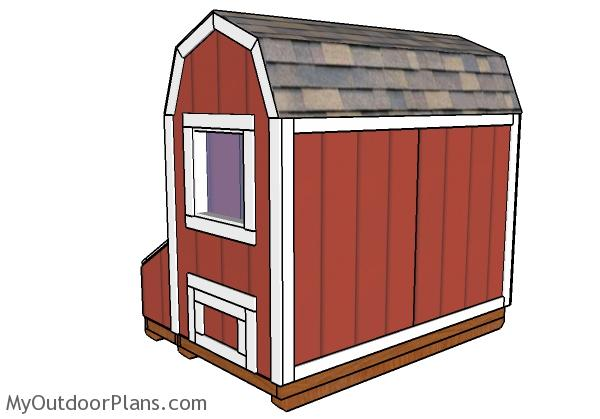 4x8 Barn chicken coop plans - Side view