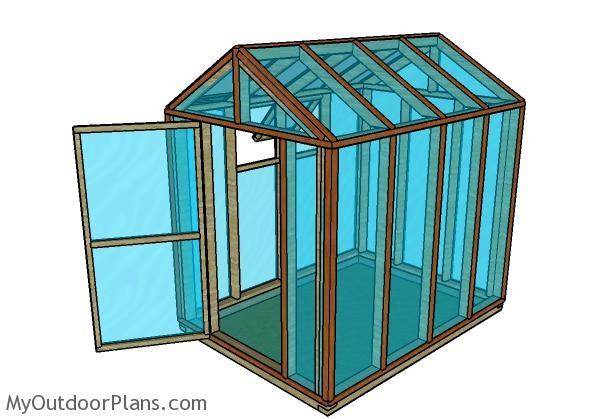 6x8 Gable Wood Greenhouse Plans