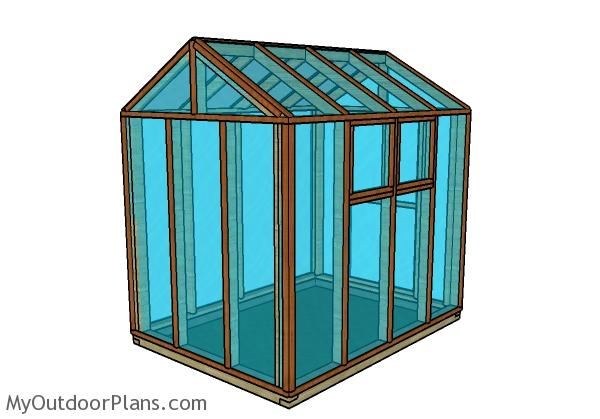 6x8 Greenhouse Plans - Back View
