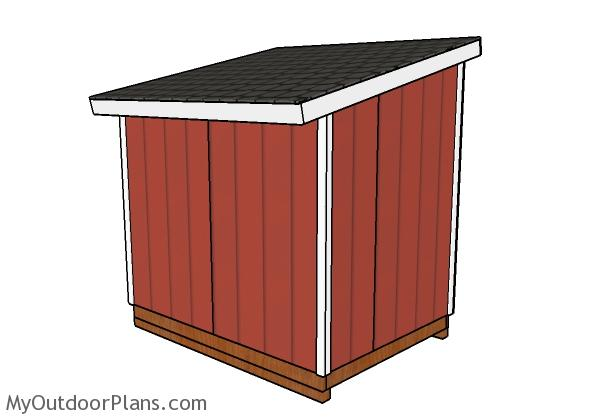 6x8 Lean to shed plans - Back view