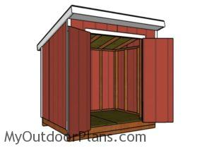6x8 Lean to shed plans - Front view