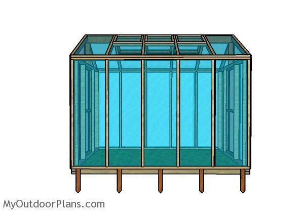 8x10 Greenhouse Plans -Side view