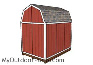 8x12 Gambrel shed plans - Back view