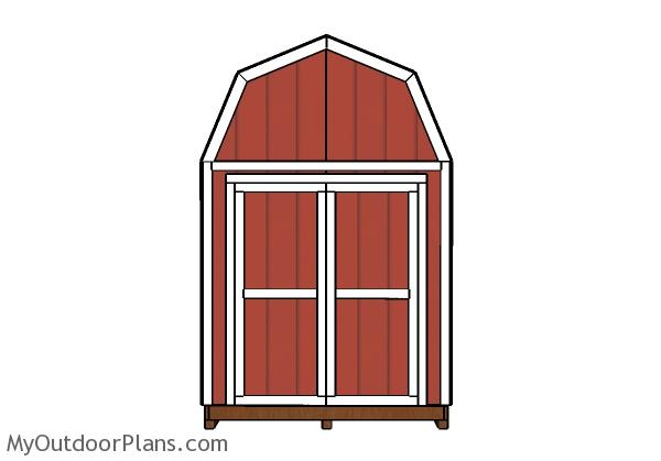 8x12 Gambrel shed plans - Front view