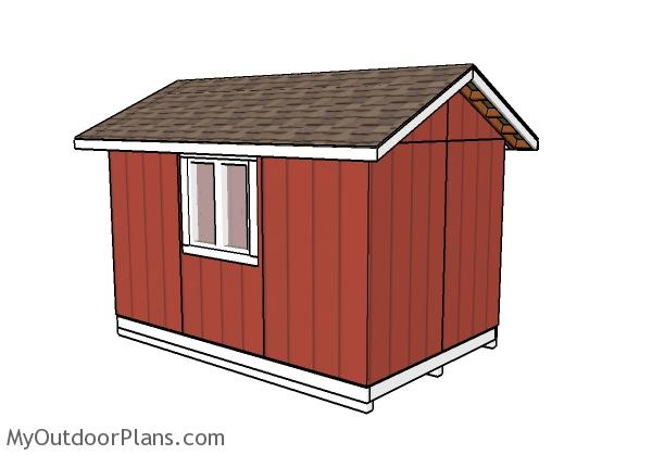 8x12 Shed Plans - Back view