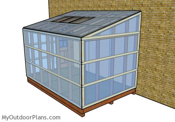 Attached greenhouse plans - Back view