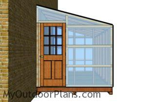 Attached greenhouse plans - Front view