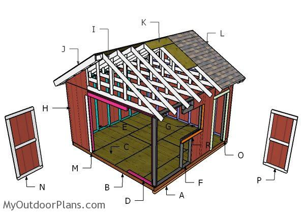 14x14 Gable Shed Roof Plans | MyOutdoorPlans | Free ...