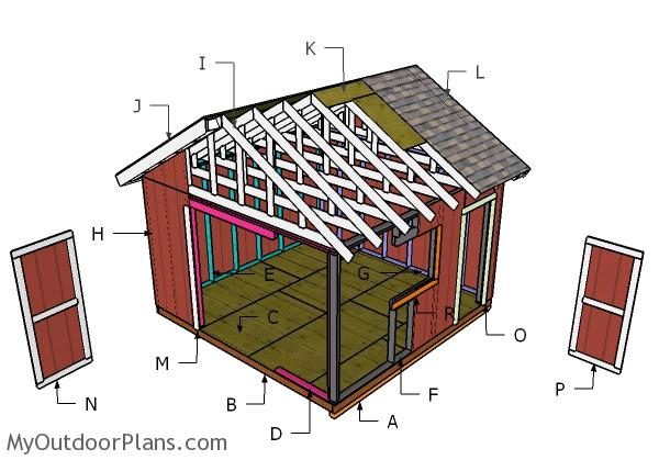 14x14 Gable Shed Roof Plans