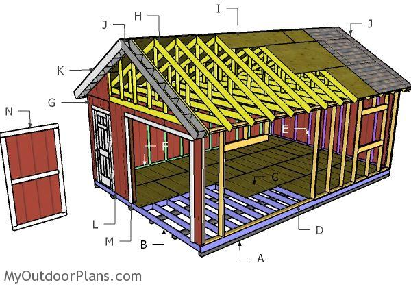 16x24 Gable Shed Roof Plans Myoutdoorplans Free