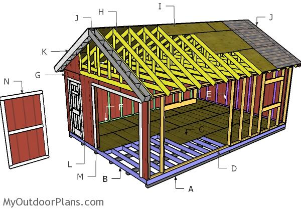 16x24 Gable Shed Roof Plans