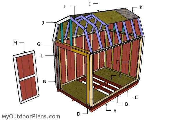 8x12 gambrel shed roof plans myoutdoorplans free for Build a cupola free plans
